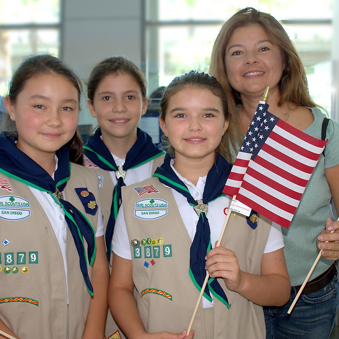 Karine Reichenberg with Girl Scouts