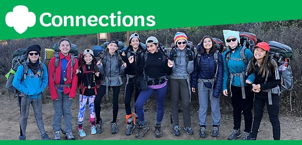 201901_ConnectionsCover_Julie Choy backpacking training Cadette troop