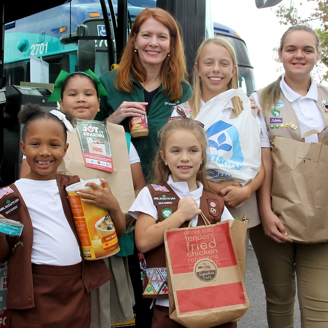 Girl Scouts at Stuff the Bus