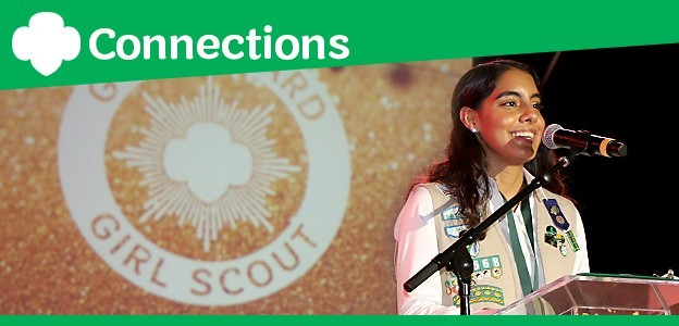 Ana, National Gold Award Girl Scout, speaking